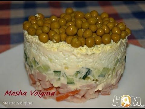 Салат с карбонатом и зеленым горошком  Пошаговый рецепт с фото