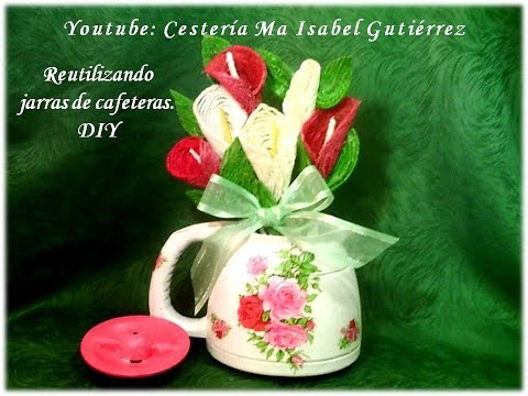 Hacer un florero re-utilizando una jarra de cafetera. DIY