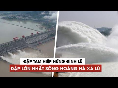 Đập Tam Hiệp hứng đỉnh lũ trên sông Trường Giang, Trung Quốc cho mở 3 cổng xả lũ
