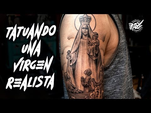 "TATUANDO una VIRGEN Realista ""VIRGIN Statue TATTOO"" SINGLE NEEDLE 