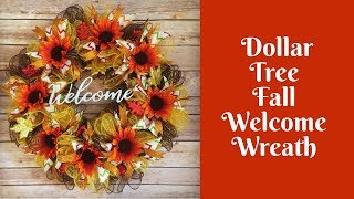 Fall Crafts: Dollar Tree Fall Welcome Wreath