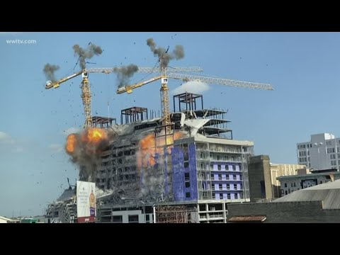 Crane implosion fail at the Hard Rock Hotel collapse in New Orleans.