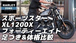 2017 スポーツスター XL1200X フォーティーエイト / テスター2名による足つき&体格比較チェック!