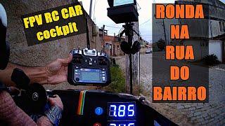 De ponta a ponta da rua FPV Rc Car visão do cockpit