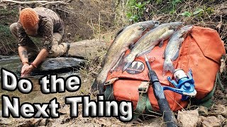 Catch and Cook Catfish With A Telescopic Fishing Rod  / Day 22 Of 30 Day Survival Challenge  Texas