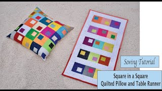Square In A Square Pillow And Table Runner - Sewing Tutorial - Using Charm Pack
