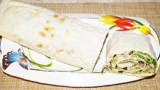 Рулет из лаваша с ветчиной и листьями салата