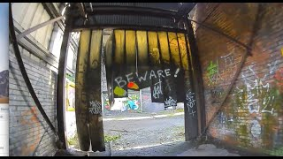 Industrial Graffiti abandoned steel works, testing video signal penetration of the dji fpv goggles,