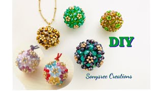 Embellished Beaded Bead || Beaded Bead Pendant Or Earrings || How To Make Beaded Ball