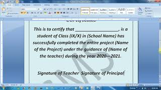 How to write a certificate for any project in MsWord