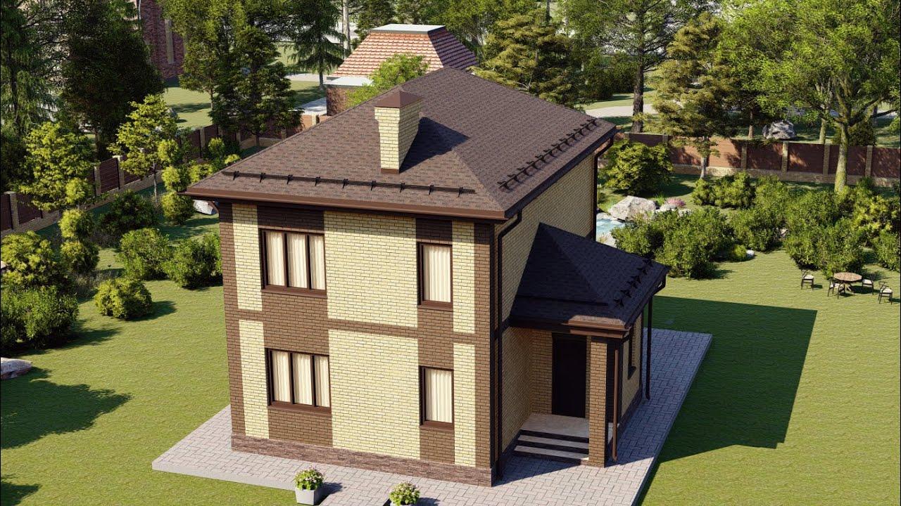 Двухэтажный дом из кирпича с большой гостинной и двумя санузлами