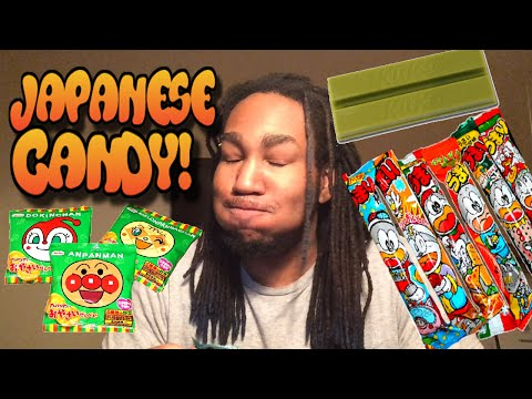 OMG Almost Puked! Japanese Candy Challenge Part 2 - Green Kit Kat + Evil Dog Man!