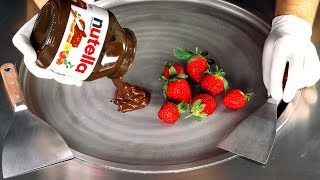 ASMR - Nutella & Strawberry Ice Cream Rolls | oddly satisfying fast rough tapping & scratching ASMR