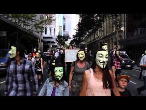 Official Anonymous Million Mask March Music Video (Bad Company) - Micropsia - Brisbane 2013