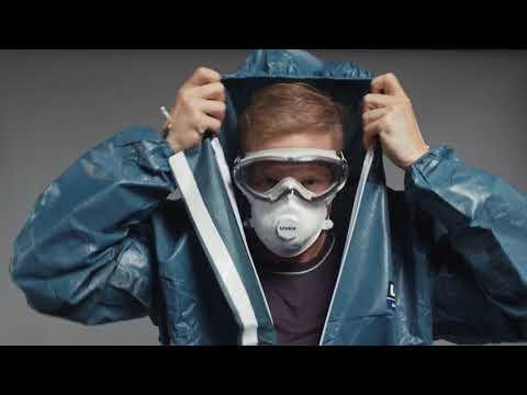 Schutzanzug richtig anziehen & ausziehen: uvex Einweg-Schutzanzug Typ 3B (Deutsch)