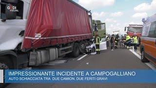 Campogalliano, Terribile Schianto Fra Auto E Due Camion