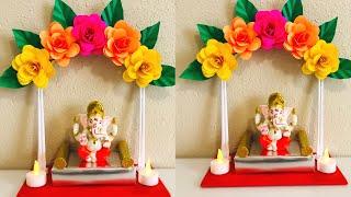 DIY -Eco Friendly Ganesh Makhar Decoration Ideas -Ganapathi Makhar 2020 -Ganapathi Mandap Decoration
