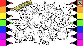 Pokémon coloring book pages for kids speed coloring Eevee evolutions