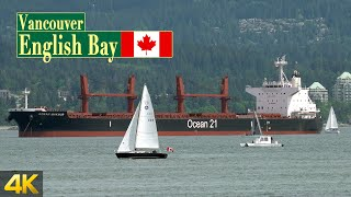 Ships in English Bay Vancouver Canada, seen from Locarno Beach