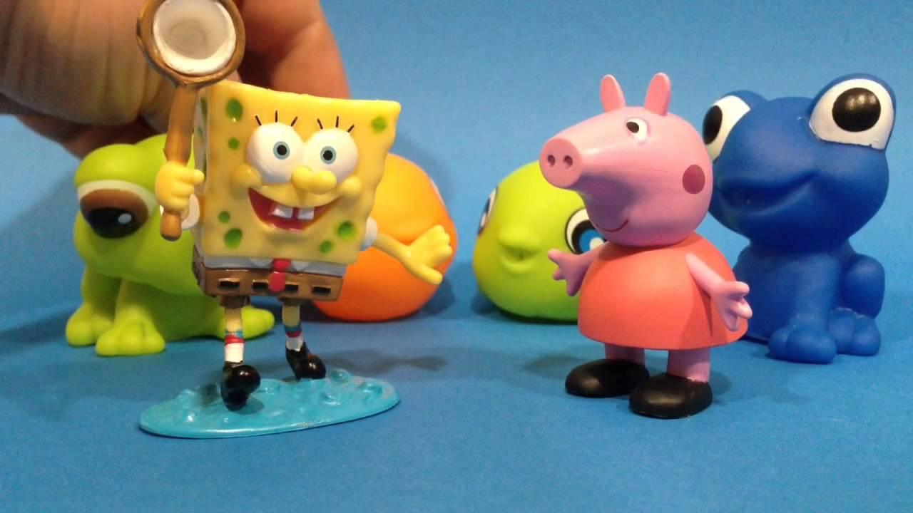 Bob Esponja, Peppa pig y sus muñecos para el baño.