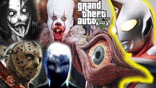 GTA 5 Mod - Jeff The Killer Slenderman Pannywise Jason Giải Cứu Quái Vật Khổng Lồ Một Mắt | Big Bang