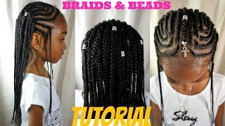 KIDS NATURAL HAIR STYLES | BRAIDS & BEADS TUTORIAL (ALICIA KEYS/ FULANI INSPIRED)