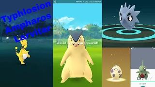 Typhlosion  - (Pokémon) - Pokemon Go Gen 2 Gameplay Pt 4 NYC 59st (Wild Typhlosion & Ampharos plus hatching Larvitar 10k egg)!