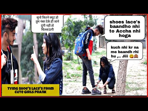 Tying Shoe Laces By Cute Girls Prank || Swag Prank with a Twist || SAHIL KHAN Production