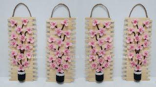 Diy Wall Decor Sakura Felt Flowers|| Diy Hiasan Dinding Stik Es Krim Dan Bunga Sakura Flanel