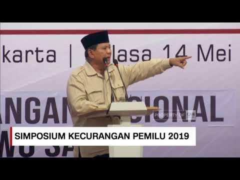 Prabowo: Saya Menolak Penghitungan Pemilihan yang Curang ; Simposium Nasional Kecurangan Pemilu 2019