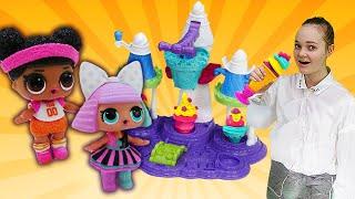 Куклы ЛОЛ и Эльза готовят мороженое. Будет исполнено: видео для девочек.