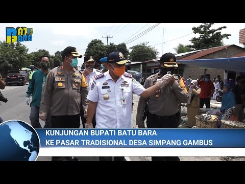 Kunjungan Bupati ke Pasar Tradisional Desa Simpang Gambus untuk Pembagian Masker & Rapid test