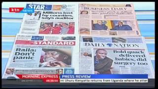 Major headlines on Kenyan newspapers