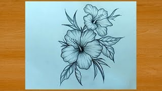 Beautiful Flower Drawing With Pencil Easy