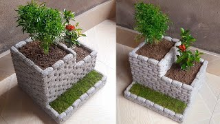 Do you have a styrofoam box or thermocol sheet at home? If yes, then a beautiful flower pot can be made using it. It's very lightweight  compared to pot made of cement and sand.  Required additional meterial is cement.
