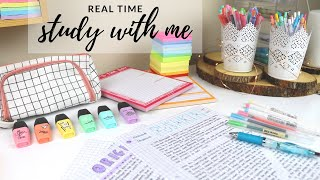 Real time study with me (with music, rain sounds, pomodoro session with break)