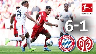 Perisic and Pavard Goals on Coutinho's full debut ► Sub now: https://redirect.bundesliga.com/_bwCS  FC Bayern's new superstar Philippe Coutinho has arrived at the Allianz Arena. The Brazilian made his home debut in Bayern's 6-1 thrashing of 1. FSV Mainz 05, in which six different players got on the scoresheet - the first time that's happened for the record champions since 1998. Among them were spectacular first Bayern goals for Ivan Perisic and Benjamin Pavard as well as a great free-kick from David Alaba. Which goal was your favourite? Let us know in the comments.  ► Watch Bundesliga in your country: https://redirect.bundesliga.com/_bwCT  ► Join the conversation in the Bundesliga Community Tab: https://www.youtube.com/bundesliga/community  We've seen another Matchday full of unmissable Bundesliga drama. Don't miss any highlights from Germany's football league! The Official Bundesliga YouTube channel gives you access to videos about the greatest goals, best moments and anything else you should know about. Make sure to subscribe now and visit us at https://bndsl.ga/comYT to find out more about the fixtures, analysis and news about your favourite team!