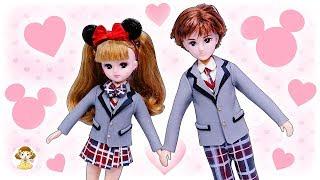 リカちゃん 制服ディズニーデート♥ハルトくんとのペアルックを粘土で手作り ディズニーランドにデートにいくよ おもちゃ 人形 アニメ