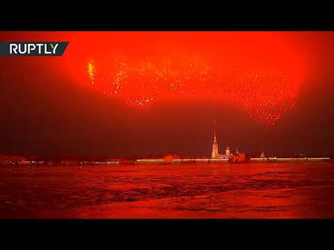 Fireworks lit up the sky over St. Petersburg to mark 77th anniversary of End of Siege of Leningrad