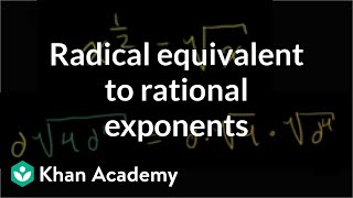 Radical Equivalent to Rational Exponents