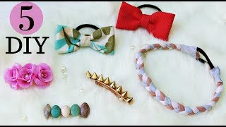 5 DIY Quick and Easy Hair Accessoires I How to make Hair Clips I Hair Accessoires Tutorial
