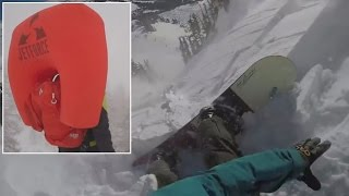Avalanche Airbag Saves Snowboarder's Life As He's Dragged Down Mountain