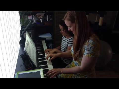 My student and me playing a duet during her lesson