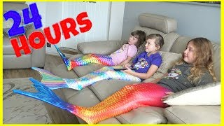 24 HOUR CHALLENGE IN OUR MERMAID TAILS!