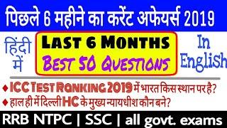 Last six months current affairs 2019 best 50 Questions || Important current affairs 2019 ||