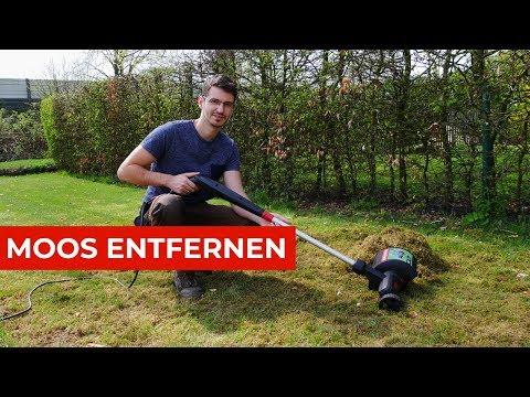 Moos Entfernung mit dem elektrischen Rasenlüfter von Skil
