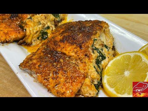 Crab Stuffed Salmon Recipe | How To Make Crab Stuffed Salmon | Easy Crab Stuffed Salmon