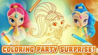 Shimmer and Shine Coloring Party Surprise! Featuring Shopkins Blind Bags, Candy, and Learn Colors!