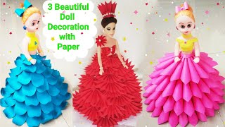 How To Make 3 Beautiful Doll Dresses From Paper/ DIY Doll Decoration Ideas With Paper