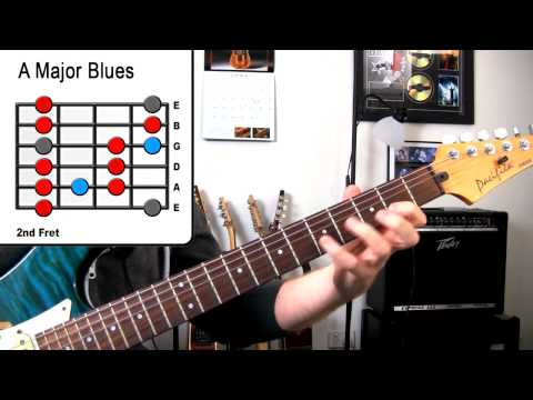 A Major Blues - Guitar Scale Lesson - Inspired John Mayer, SRV, Jonny Lang
